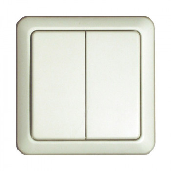 DIO Wireless Double Wall Switch - White
